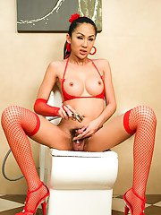 Skinny Thai ladyboy Oom in fishnets stockings playing with big tits
