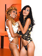 Wild ladyboys Karn and transsexual friend enjoy shemale on shemale sex