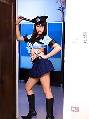 Cute Asian tranny policewoman Dew is ready for bondage and BDSM sex