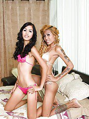 Horny Asian ladyboy Karn goes shemale on shemale with ladyboy gf