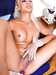 Blond Asian shemale Kai plays hith big trans tits and shecock