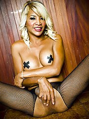 Hung Thai shemale Kai posing in pantyhose and jerking off her big cock