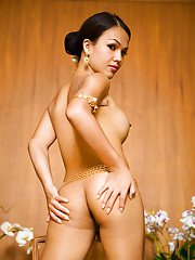 Slutty Thai ladyboy Amy stripping and playing with her dick