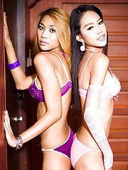 Horny Asian shemale Wawa posing with a friend and getting hard