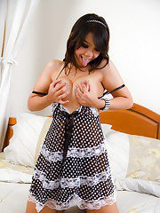 Young ladyboy Tao is a busty teen tranny and looks cute in socks
