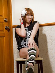 Naughty Asian shemale Jina gets kinky with her jerking off time