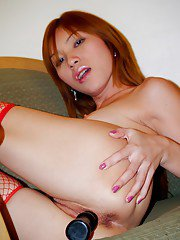 Horny Asian ladyboy Candy fucking her nasty ass and pussy with a toy