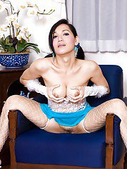 Ladyboy BEE Pigtails and Dildos