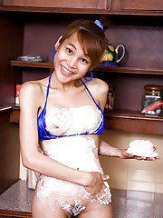 Cute little Asian shemale Cherry shows off her small trans tits
