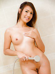 Innocent Asian shemale Oil plays with shemale tits and masturbates