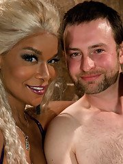 Ebony shemale Mistress Soleli has some BDSM fun with her white slave