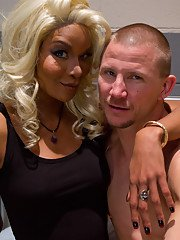 Horny blonde tranny Mistress Soleli destroying a guys tight asshole