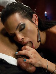 Beautiful big melon tranny Foxxy jizzing all over her tied up friend