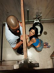BDSM loving shemale Foxxy having fun with a guy and a gloryhole