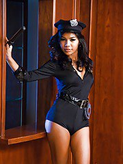 Busty Thai ladyboy Odette is a hot policewoman with a nice penis