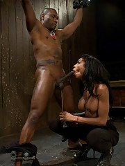 Kinky Ebony shemale Natassia Dream passionately sucking a black cock