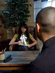 Curvy Asian tranny Yasmin Lee giving a guy a deep dicking in her office