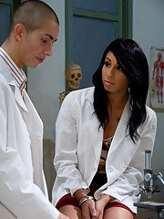 Small tit Ebony shemale Honey FoXXX getting nasty with a doctors cock