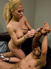 Stunning blonde shemale Jessica Host getting her big ass licked