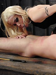 Lustful blonde tranny La Cherry Spice sucking and playing with a dick