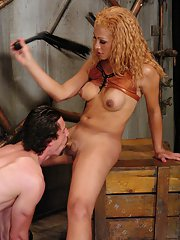 Redhead Latina shemale Jessica Host deeply penetrating a shaved asshole
