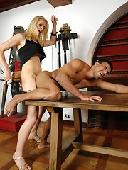Beautiful blonde shemale Mel Voguel getting freaky with her partner