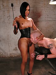 Kinky Ebony tranny Sexy Jade making a bald guy lick her nasty ass