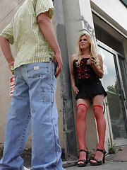 Eager blonde shemale Jesse sucking cock in red stockings and high heels
