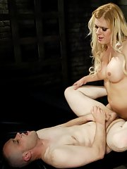 Naught blonde tranny Jesse playing rough and enjoying hardcore BDSM