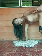 Thai ladyboy Bell is deeply butt fucked and creamed in her country house