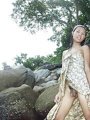 Outdoor posing solo session with stunning petite Asian shemale