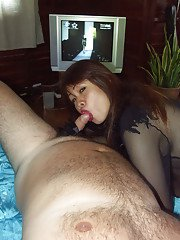Dick loving Asian ladyboy giving a sloppy blowjob to a hairy fat dude