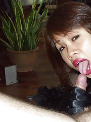 Ladyboy Jane gives head to a white client who pushes a sex toy up her butthole