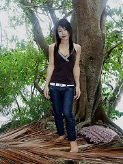 Adorable brunette Asian ladyboy showing off her small boobs outdoors