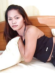 Petite Asian tranny sporting small shaved shecock and flat chest