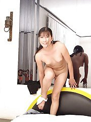 Luscious Asian shemale stripping and showing of her small shaved dick