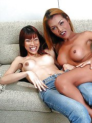 Kinky brunette Asian trannies with big boobs playing with each other