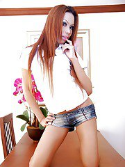 Long-haired shemale Joy Tai plays with her tattooed legs and dick