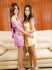 Kinky Asian shemale Deo kissing her transsexual lesbian friend on lips