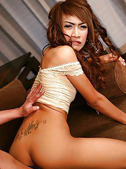 Nasty Asian ladyboy Monna riding bareback and giving a sloppy blowjob