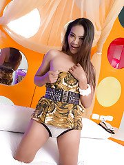 Extremely horny brunette Thai tranny Jamine loves getting her ass destroyed