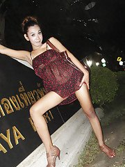 Cute Thai ladyboy Nam posing outdoors in high heels and a dress