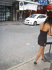 Cute Asian tranny Candids posing outdoors and spreading in high heels