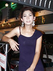 Big tit Thai shemale Candids going out to town and posing in dresses
