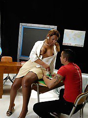 Horny Latin tranny teacher giving her student an anal pounding in heels