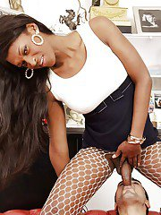 Gorgeous Ebony shemale in pantyhose ass fucking and getting a blowjob
