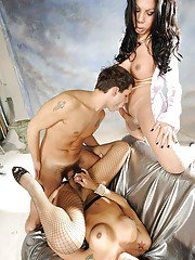 Charming brunette shemales double dicking a dude and cumming on him