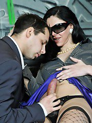 Slutty mature tranny in stockings getting fingered and giving a blowjob