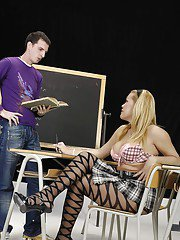 Curvy blonde shemale in pantyhose seducing her teacher and fucking him