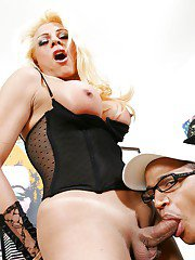 Curvy big tit shemale having hardcore anal sex with her big dick friend